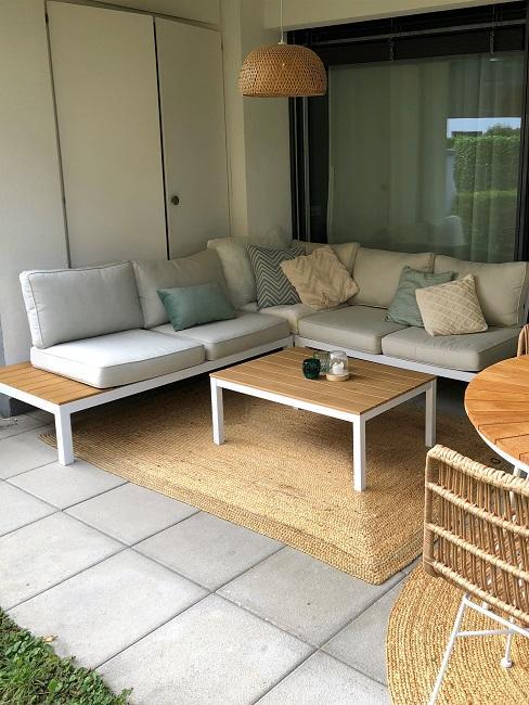 neue Wohnung einrichten Nachher Terrasse Sofa