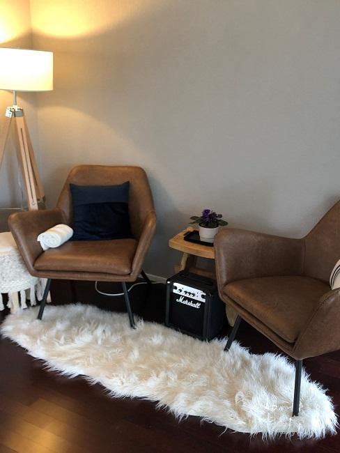 neue Wohnung einrichten Nachher Wohnbereich Sessel