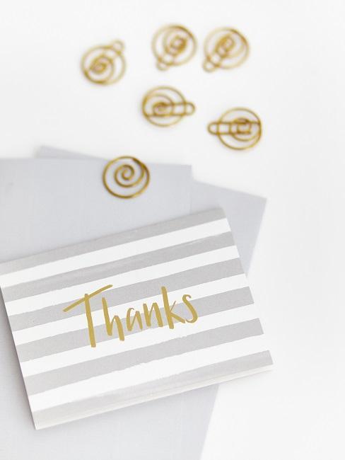 Dankeskarte mit goldenem Schriftzug