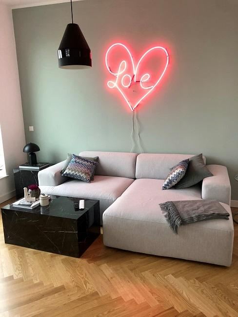Nische gestalten Nachher Sofa Wandfarbe