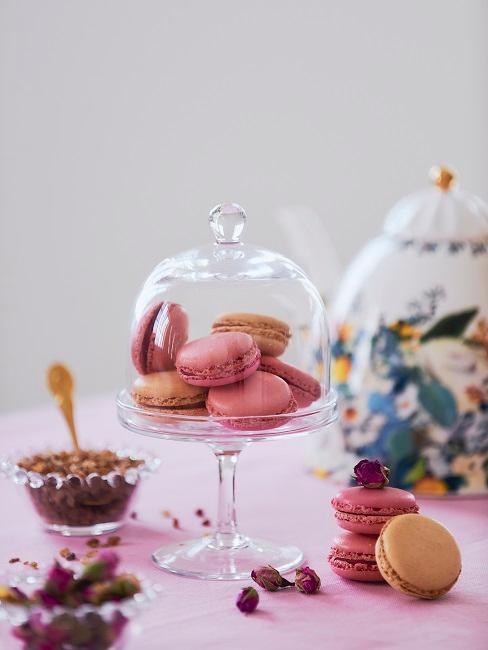 Macarons in einem Törtchenbehälter