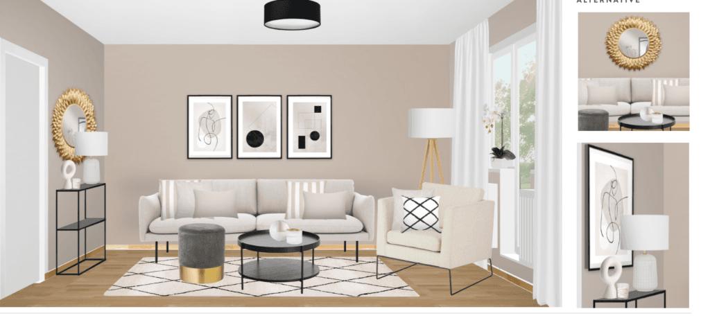 schmales Wohnzimmer einrichten Entwurf Sofa