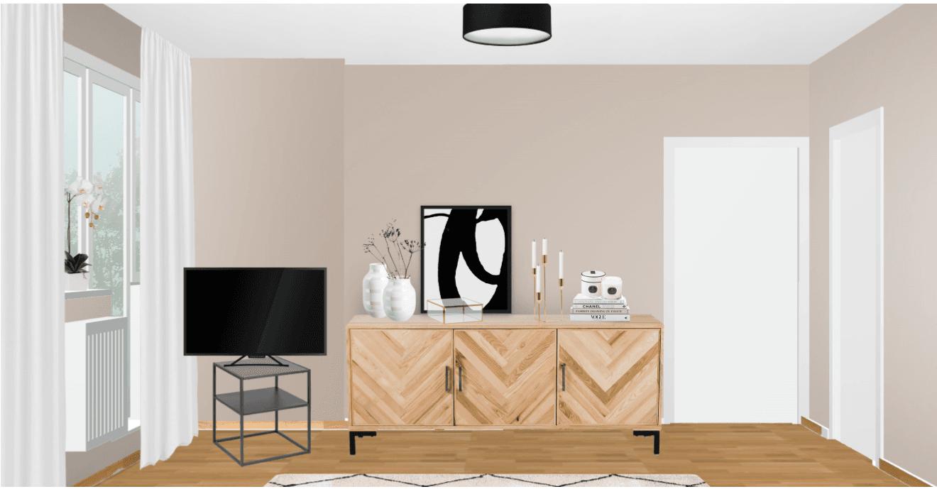 schmales Wohnzimmer einrichten Entwurf Sideboard