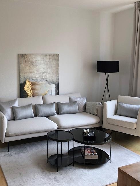schmales Wohnzimmer einrichten Nachher Sofa