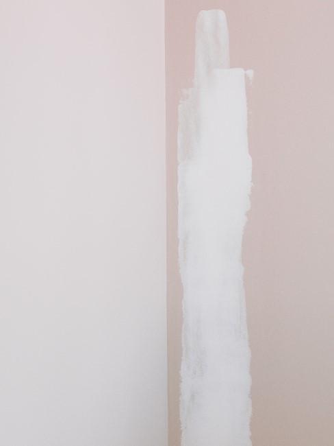 Eine Wand wurde angefangen zu streichen