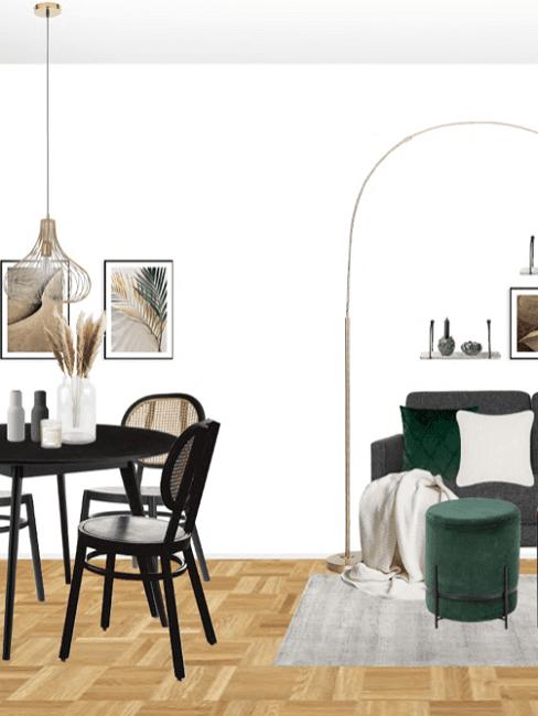 Kleines Wohnzimmer mit Essbereich einrichten Entwurf Details
