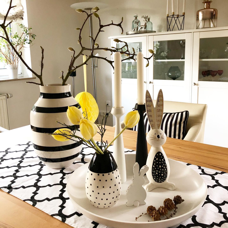 Ostereier in Schwarz Weiß als Tischdeko