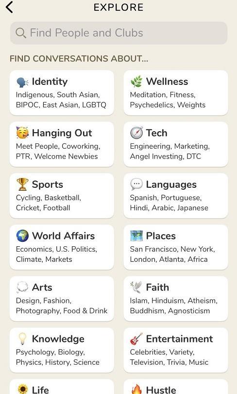 Clubhouse App Suchfeld Explore Themen