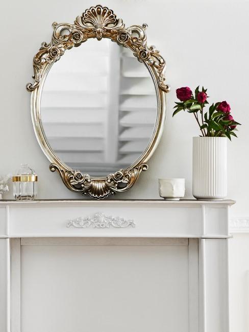 Runder verschnörkelter Spiegel in Gold