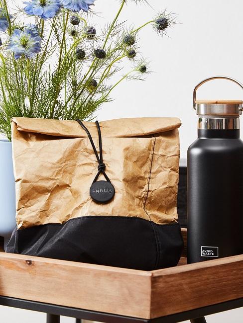 Nachhaltige produkte Trinkflasche Lunchtüte wiederverwendbar