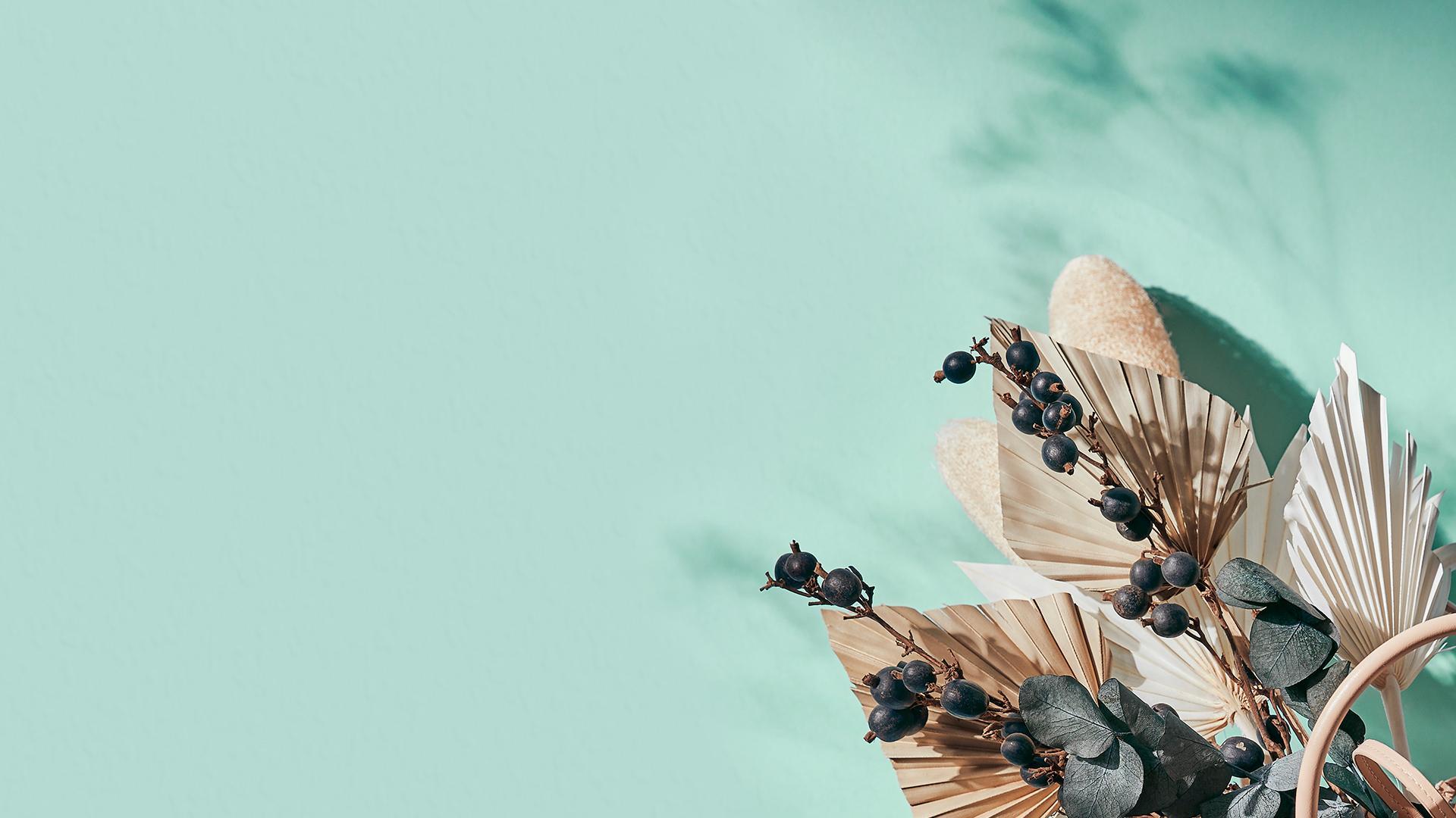 Hintergrundbild für Desktop türkise Wand und Blumen