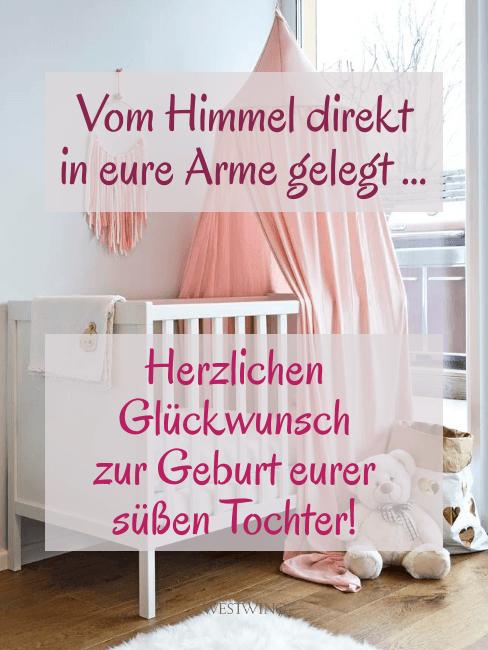 Grafik mit Kinderbett und Spruch zur Geburt