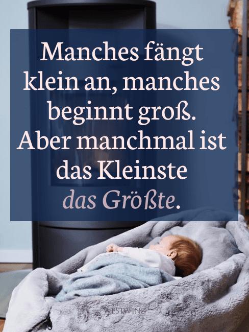 Grafik mit Kind in Kuschelsitzsack und Spruch zur Geburt