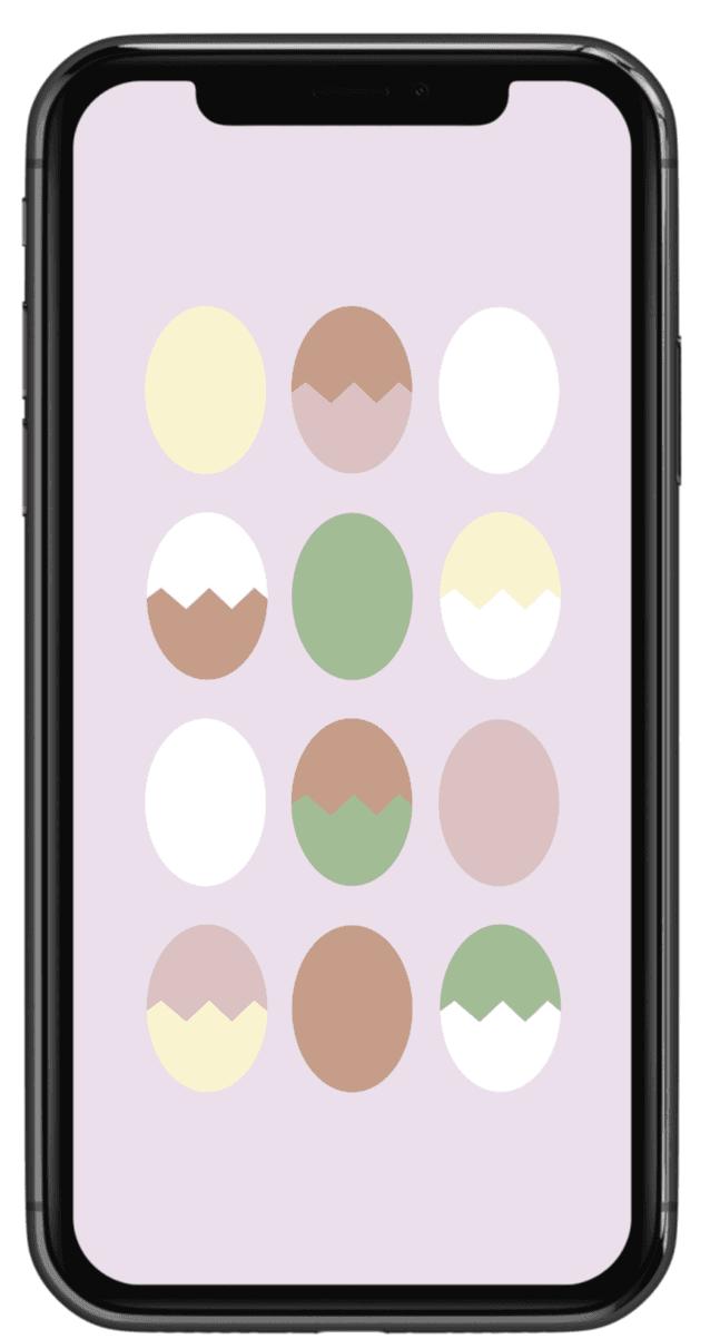 Handy mit Ostereiern als Hintergrundbild