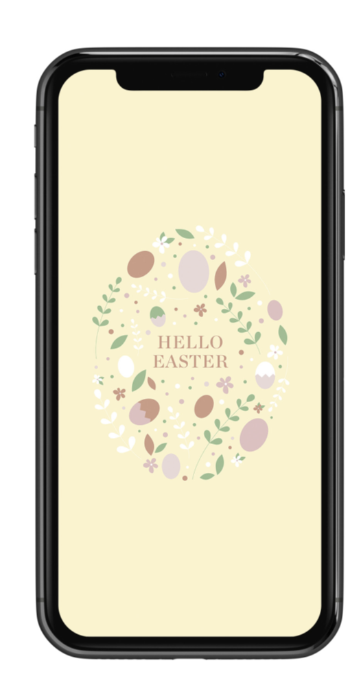 Handy mit Ostermotiv als Hintergrundbild