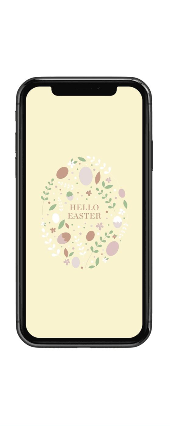 Handy mit Hintergrundbild mit Ostermotiv