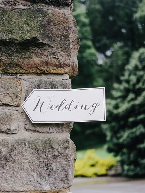 Schild für Hochzeit