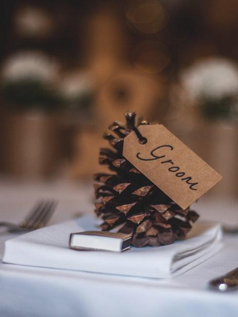 Tischkarte für den Bräutigam