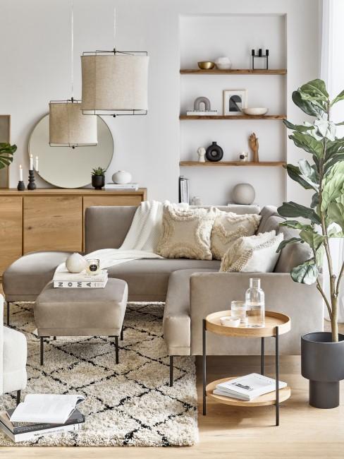 Scandi Boho Wohnzimmer in neutralen Farben