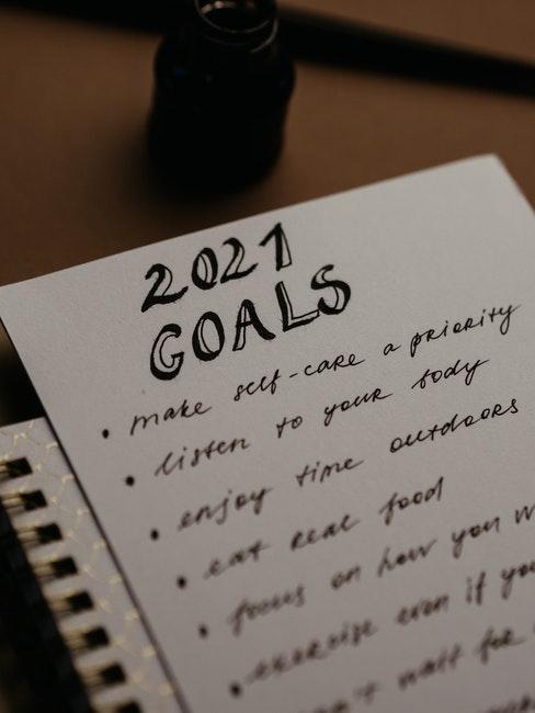 Liste mit Vorsätzen und Zielen für 2021