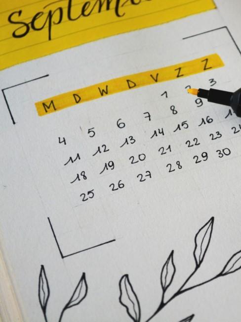 Monatskalender als Idee für das Bullet Journal