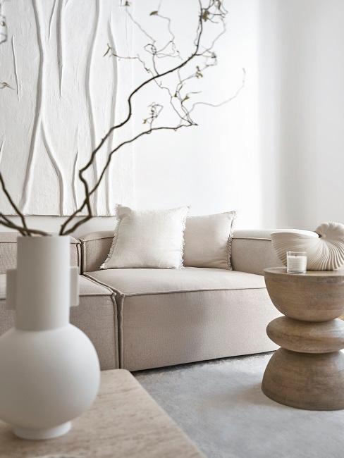 Wohnzimmer minimalistisch mit beiger Einrichtung