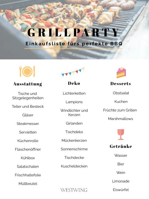 Gartenparty Grillen Einkaufsliste Checkliste Teil 2