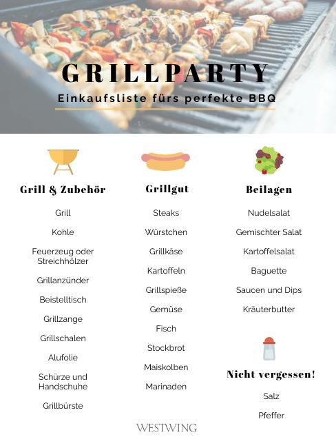 Gartenparty Grillen Einkaufsliste Checkliste Teil 1