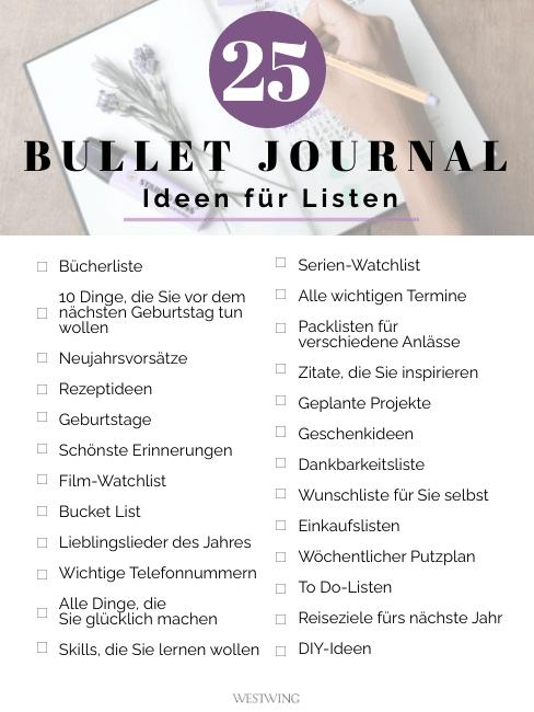 Liste mit 25 Ideen für eine Liste im Bullet Journal