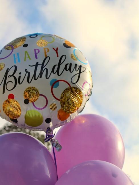 Happy Birthday Luftballon und lila Luftballons zum Kindergeburtstag in Coronazeiten