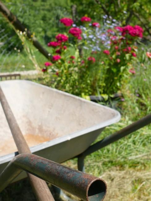 Schubkarre für die Gartenarbeit im Kleingarten