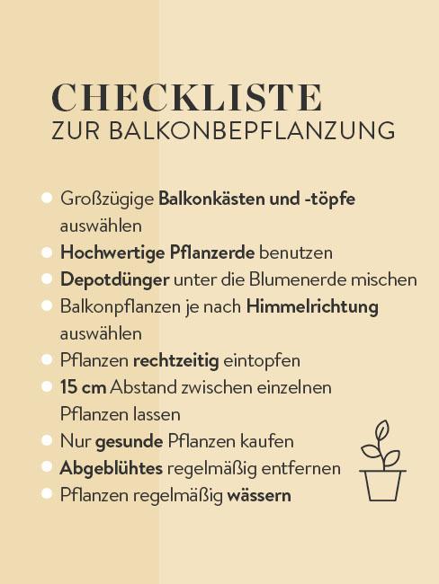 Checkliste zur Balkonbepflanzung