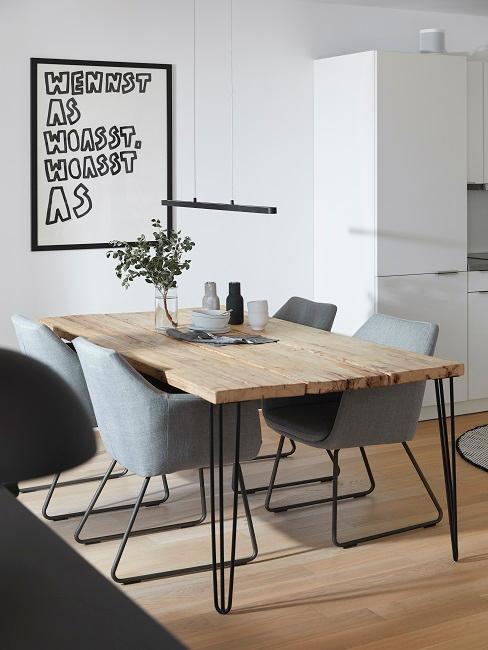 Homeoffice Wohnzimmer Küche Esstisch