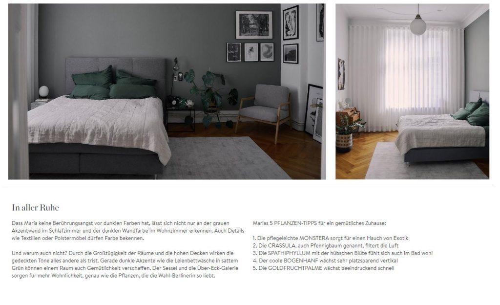 Masha Homestory Schlafzimmer Pflanzen Text und Bilder