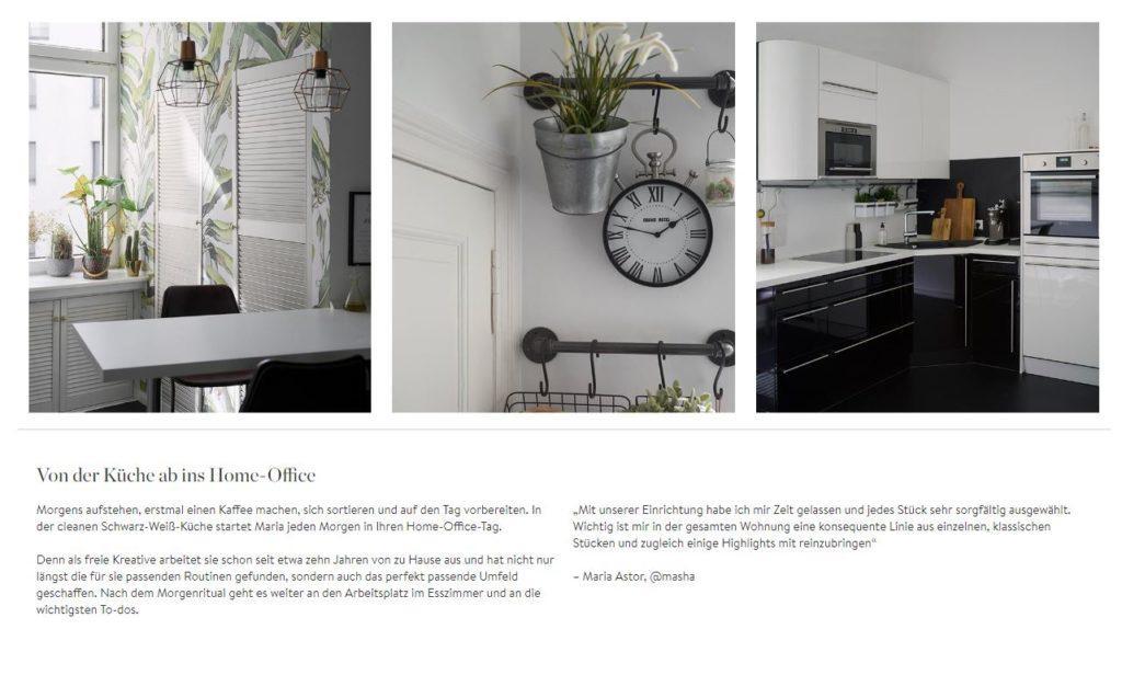 Masha Homestory Küche Homeoffice schwarz weiß