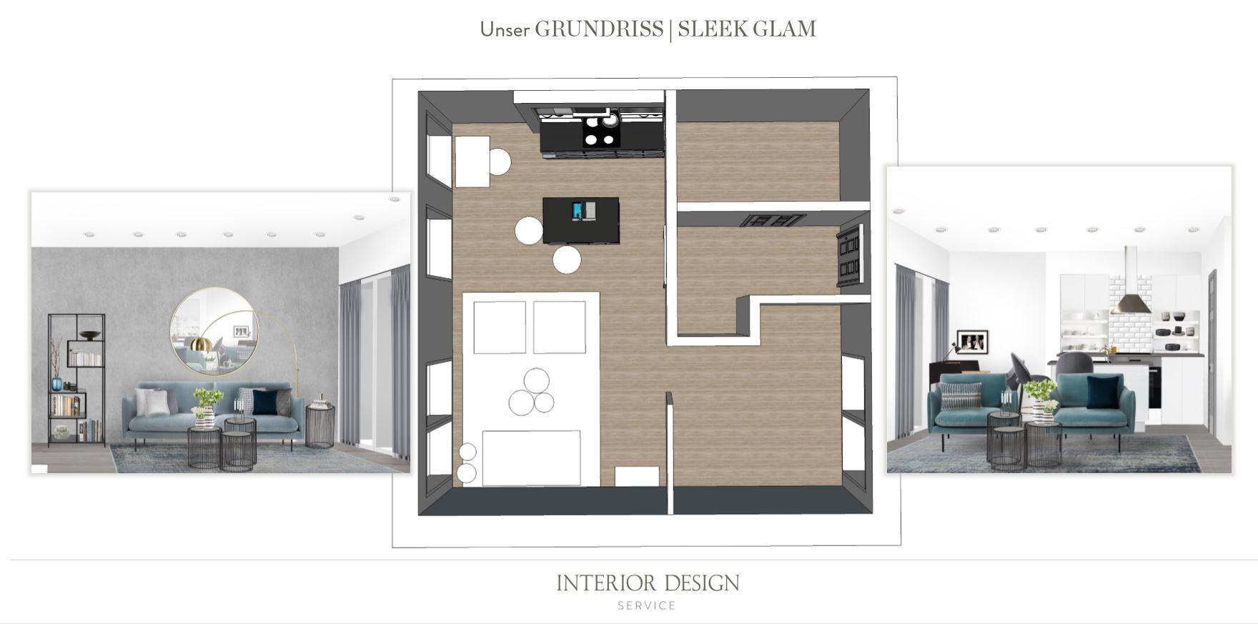Wohnzimmer mit offener Kueche Grundriss