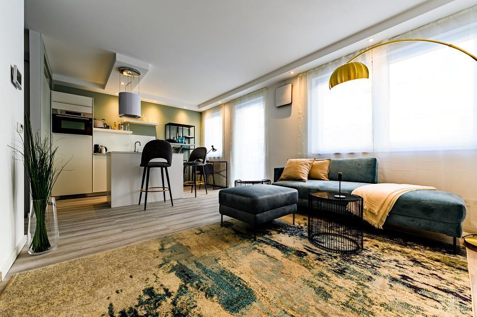 Wohnzimmer mit offener Küche einrichten Ergebnis Appartment 1 Wohnbereich
