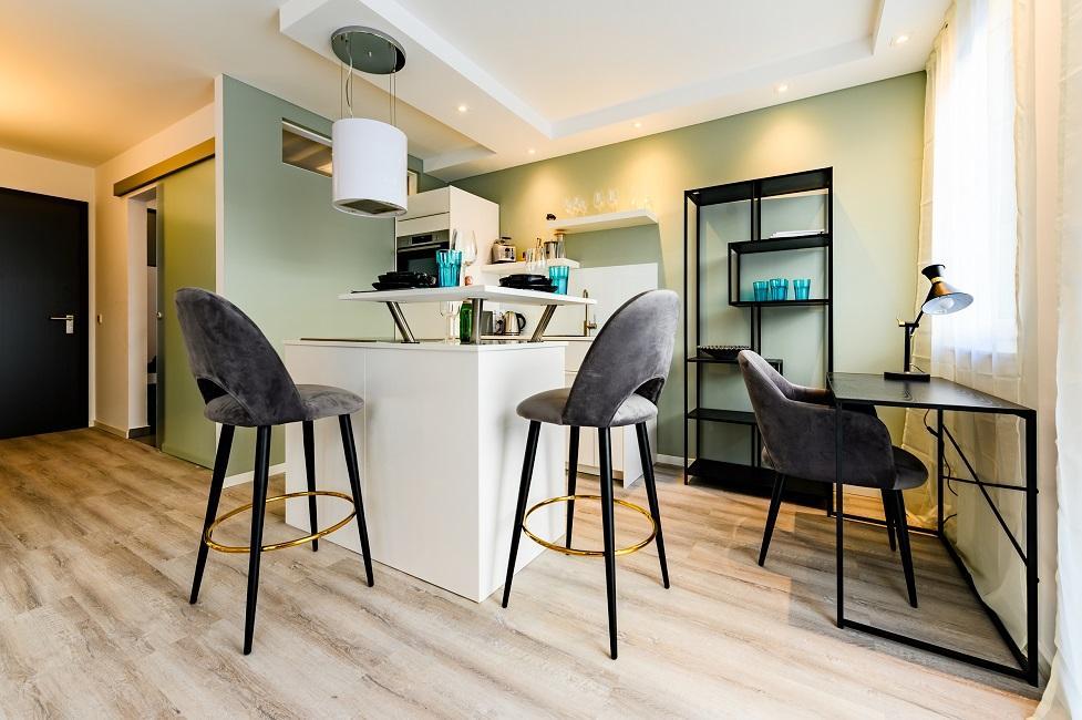 Wohnzimmer mit offener Küche einrichten Ergebnis Appartment 1 Küche