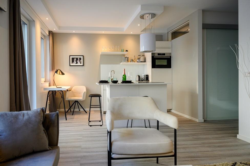 Wohnzimmer mit offener Kueche einrichten Ergebnis Appartment 2 Kueche