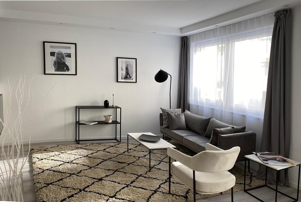 Wohnzimmer mit offener Küche einrichten Ergebnis Appartment 2 Wohnbereich