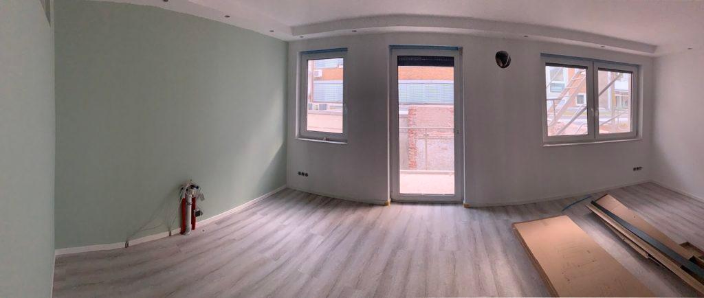 Wohnzimmer mit offener Küche einrichten vorher