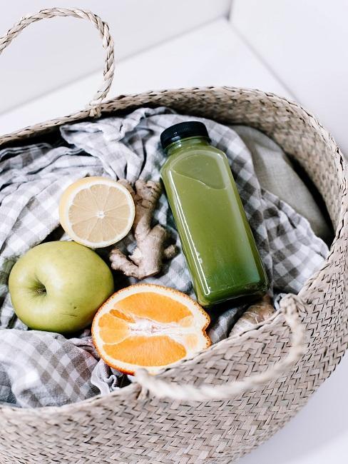 Intervall Fasten Plan Einkaufskorb Obst Ingwer Zitrone Smoothie