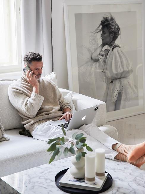 Moderne Wohnungseinrichtung Wohnzimmer Sofa Wandbild Deko