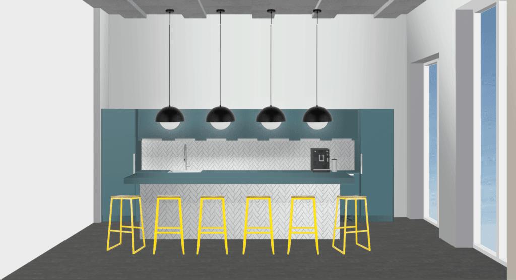 Bürogebäude Büroräume einrichten Küche
