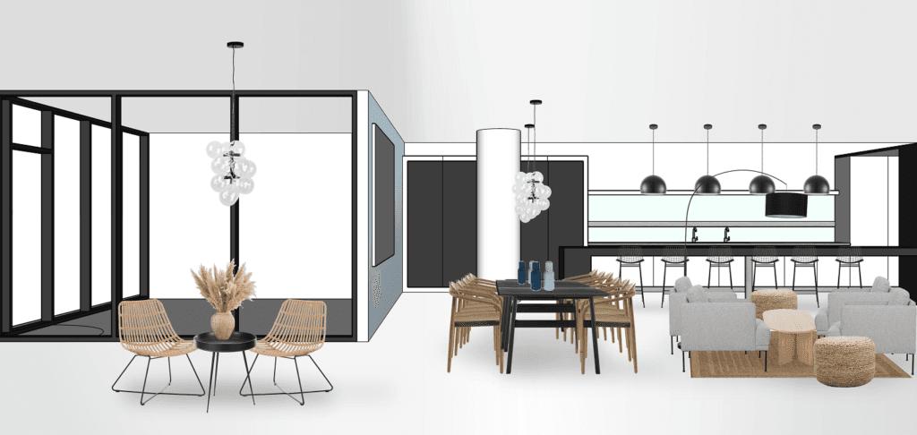 Bürogebäude Büroräume einrichten Essbereich Variante 1