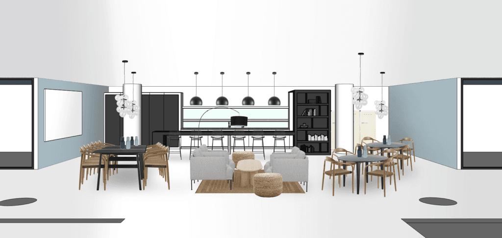 Bürogebäude Büroräume einrichten Essbereich Variante 1 Küche
