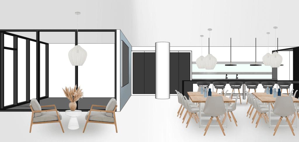 Bürogebäude Büroräume einrichten Essbereich Variante 2
