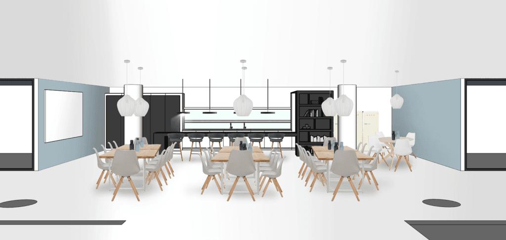 Bürogebäude Büroräume einrichten Essbereich Variante 2 Stühle