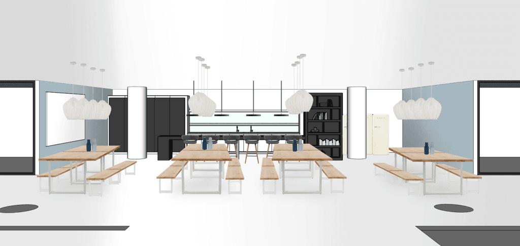 Bürogebäude Büroräume einrichten Essbereich Variante 2 Bänke