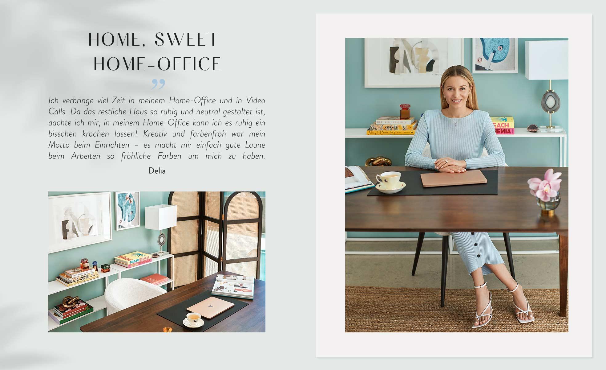 Frau sitzt in Arbeitszimmer mit fröhlichen und bunten Farben